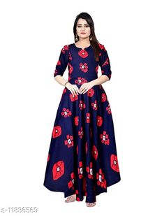 Dresses Women's Printed Navy Blue Red Rayon Dress  Fabric: Rayon Sleeve Length: Three-Quarter Sleeves Pattern: Printed Multipack: 1 Sizes: Free Size (Length Size: 50 in)  XL (Bust Size: 42 in, Length Size: 50 in)  L (Bust Size: 40 in, Length Size: 50 in)  M (Bust Size: 38 in, Length Size: 50 in)  XXL (Bust Size: 44 in, Length Size: 50 in)  Country of Origin: India Sizes Available: Free Size, M, L, XL, XXL   Catalog Rating: ★4.2 (482)  Catalog Name: Pretty Fashionable Women Dresses CatalogID_2245174 C79-SC1025 Code: 063-11836569-