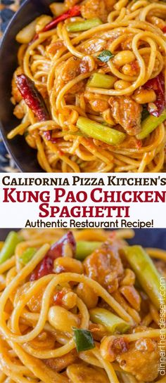 Kung Pao Chicken Spaghetti is deliciously spicy and sweet, a fan favorite and al. Kung Pao Chicken Spaghetti is deliciously spicy and sweet, a fan favorite and all time best seller from California Pizza Kitchen that you can make at home. Copycat Recipes, New Recipes, Dinner Recipes, Cooking Recipes, Favorite Recipes, Healthy Recipes, Dinner Ideas, Pasta Dishes, Food Dishes