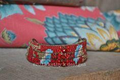 Loomed Bead Bracelet, Floral Design, Custom Handmade Bracelet