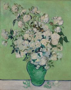 A vase of roses Artist: Vincent van Gogh Oil painting categories: Still life painting,  Flower painting, Post-impressionism