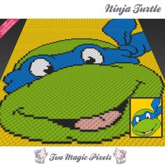 Ninja Turtle crochet blanket pattern; knitting, cross stitch graph; pdf…