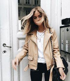 neutral leather moto jacket
