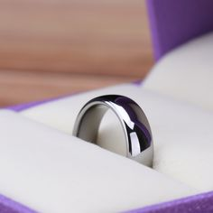 White Thin Tungsten Polished Classic Wedding Bands 2mm - 8mm | #tungstenweddingring