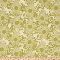 Styl Mod Large Flowers Cream/Green from @fabricdotcom  Designed by Style Par Mo for Newcastle Fabrics, this cotton print is perfect for quilting, apparel and home decor accents.  Colors include cream and green.