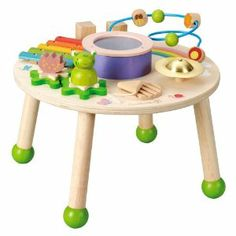 Maxim Everearth music play table $45 on Amazon.com.  Love the eco friendly materials and sleek design (so sick of primary color, plastic toys)