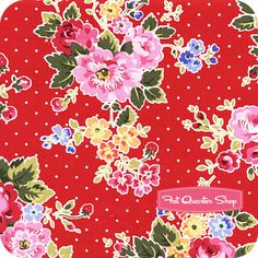 Nursery Fabric: Fatquartershop.com - Pam Kitty Love Cherry Floral on Dots SKU# LH12064-CHERRY $10.75