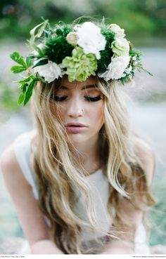 Floral headband perfection for a bohemian style bride   Photograph by Debbie Lourens and flowers by Paramithi Decor & Styling   Natural, Young & Free   Styled Shoots