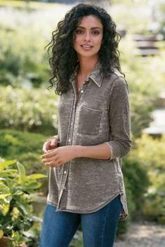 Bijou Burnout Shirt - Vintage Wash Shirt, Soft Button Up   Soft Surroundings