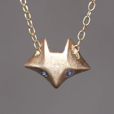 Fox Necklace in 14K Gold with Gemstones by MichelleChangJewelry on Etsy https://www.etsy.com/listing/64648653/fox-necklace-in-14k-gold-with-gemstones