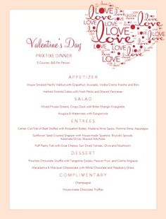 valentine day dinner menu calgary