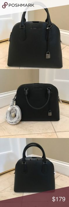 d70e1a987bba NWT Michael Kors Blk Lg Adele Dome Satchel $378 100% Authentic Michael Kors  Black Large