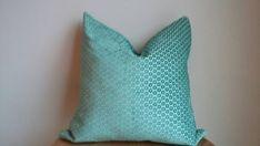 Teal green blue geometric dot velvet pillow by PetajaFiberWorks
