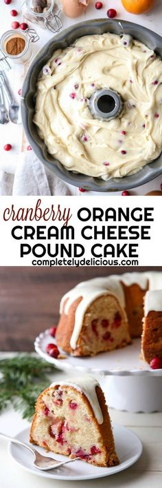 Cream cheese pound cake dressed up for the holidays with cranberries, orange zest, and spices. Just Desserts, Delicious Desserts, Dessert Recipes, Yummy Food, Dessert Ideas, Yummy Treats, Cake Ideas, Sweet Treats, Holiday Baking