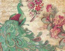 "Set of 2 ( two) pieces - Decoupage napkins - Punch Studio - "" Aqua Peacock "" - Vintage Floral, Vintage Art, Vintage World Maps, Decoupage, Peacock Fabric, Rose Wallpaper, Animal Design, Historical Photos, Punch"