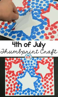 Children will love this 4th of July thumbprint craft! #4thofjuly #patriotic #artsandcrafts #kids #kidsactivities #kidsart
