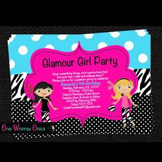 Glamour Girl Birthday Party Invitations. Great for Fashion Show or Dress Up Party Theme. Choose from a large variety of matching decorations to complete your theme. Our Invitations are one of a kind and completely customizable.