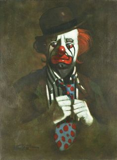 """Clown w/ Polka Dot Tie by Chuck Oberstein Signed Oil on Canvas 24""""x18"""""""
