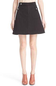 SEE BY CHLOÉ A-Line Stretch Cotton Skirt With Braided Trim. #seebychloé #cloth #