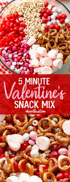 Ever since posting that 5 Minute Reese's Snack Mix we've had a million requests to do more fun snack ideas for the holidays. This 5 Minute Valentine's Snack Mix is a little bit sweet and a little bit salty, but mostly sweet! You can surprise your kids wi Valentines Day Food, Valentine Snack Mix Recipe, Kinder Valentines, Holiday Snacks, Snacks Für Party, Holiday Recipes, Party Appetizers, Holiday Appetizers, Snack Mix Recipes