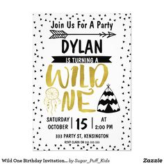 Wild One Birthday Invitation With faux Gold