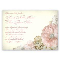 Blush pink dahlia wedding invitation #DavidsBridal #PinkWedding #WeddingInvitations http://www.invitationsbydavidsbridal.com/Wedding-Invitations/Nature--Rustic-Invitations/2947-DB28841-Perfect-Petals--Invitation.pro?&sSource=Pinterest&kw=SoPinkinCute_DB28841