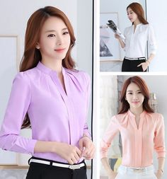 Korean Women Long Sleeve Chiffon Career Shirts Elegant V-Neck Casual Tops