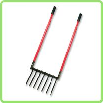 """22"""" Broadfork, Fiberglass Handles - This is a great aeration tool for all gardeners - Aerate and lift your soil for increase production- Better than a rotor tiller -Plus it is Made in American"""