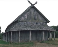Reconstruction of ca. 1000 Viking hall at Trelleborg, Denmark.