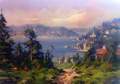 (Turkey) by Remzi Taskiran ). oil on canvas. born in Adiyaman in Turkey. Energy Pictures, Master Studies, Pointillism, Landscape Paintings, Oil Paintings, Dungeons And Dragons, Monet, Beautiful Landscapes, Impressionist