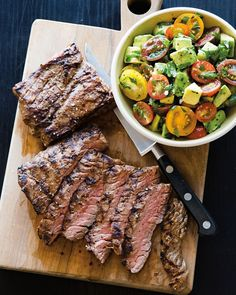 Skirt Steak with Avocado and Tomatoes | For a variation, swap the tomatoes for peaches, or try fresh corn kernels in place of avocados.