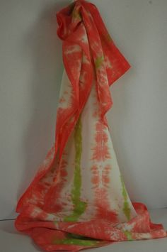 Scarf, bamboo rayon, Shibori, flamingo and lime, 14 x 72 [BR1.12} by DailyHandDyed on Etsy