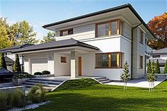 Dom Karat 3 w budowie Modern Family House, Modern House Plans, Modern House Design, Style At Home, Exterior House Colors, Exterior Design, Duplex Design, American Houses, Duplex House