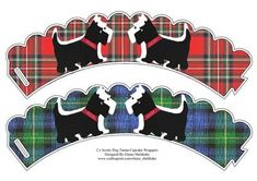 2 x Scottie Dog Scottish Tartan Cupcake Wrappers on Craftsuprint designed by Elaine Sheldrake - This adorable Scottie dog wrappers are just one in a series of designs to wrap around your cupcakes. Just download and print off as many as you need, perfect for parties, BBQ, picnics, weddings, birthdays and for your Scottie dog too! - Now available for download!
