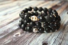 Natural Stone Skull Stacking Bracelet by Phenomenal Women $24