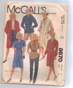 Vintage McCalls 8670 Coat-Dress, Shirt-Jacket, Dress or Jumper Size 20   jjandedt - Clothing on ArtFire