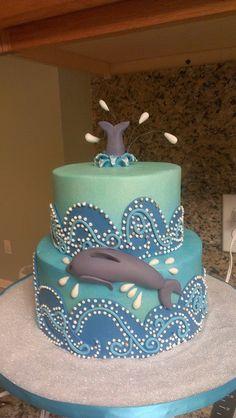 16 Super Ideas for birthday cake care bears Whale Cakes, Dolphin Cakes, Ocean Cakes, Beach Cakes, Girly Cakes, Fancy Cakes, Cupcakes, Cupcake Cakes, Dolphin Birthday Cakes