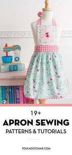 More than 19 fun Apron Sewing Patterns and tutorials. Includes patterns for both kids and adult aprons. More than 19 fun and cute Apron sewing patterns. Includes apron patterns for kids and apron patterns for adults. Beginner Sewing Patterns, Sewing Patterns For Kids, Sewing Projects For Beginners, Sewing For Kids, Free Sewing, Sewing Tutorials, Sewing Tips, Sewing Hacks, Apron Sewing Patterns