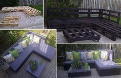 This is neat!! No Instruction other than the pic. Pallets positioned as shown and painted. Go to the craft store and get foam squares and cover with your choice of fabric! HIT LIKE AND SHARE !!!! Check out more exciting testimonials and recipes at ~~https://www.facebook.com/groups/495724867133866/ to order straight from my web site go here http://jhk.thenewyearschallenge.com/