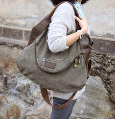 Large Capacity Shoulder Bag Leather Canvas Bag (8)