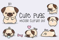 Premium Vector Clipart  Kawaii Pugs  Pugs lindos Set de