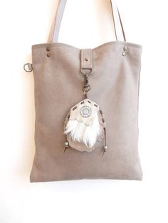 Leather bag warm gre...
