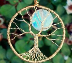 Rainbow's End 18k Solid Gold and Moonstone Tree of Life by ethora, $1200.00