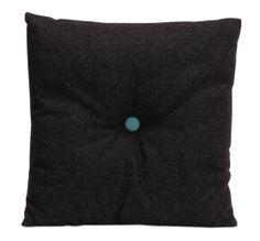 dark grey pillow with blue button - Studio