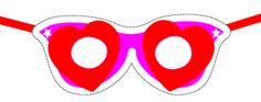 Printable heart-shaped eye  glasses, adorable and easy romantic mask or party craft for Valentine's Day or bridal showers. ClipArtandCrafts.com