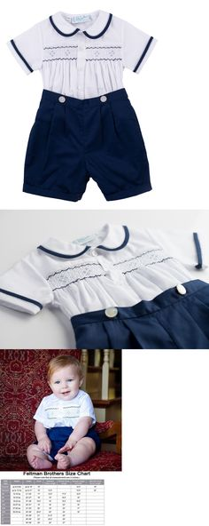 Baby Boys Clothing And Accessories: Boys Feltman Brothers Navy And White Smocked Short Set Nwt Infant And Toddler -> BUY IT NOW ONLY: $48.99 on eBay!