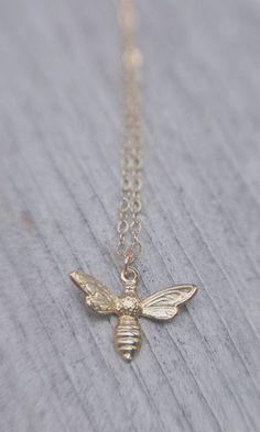 abeille. 18k vermeil gold bee necklace