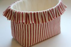 Ruffled Country Farmhouse Fabric Basket in by TheStitchinChicken, $18.00 Farmhouse Fabric, Country Farmhouse, Cherry Kitchen, Fabric Basket, Trending Outfits, Unique Jewelry, Sweet, Handmade Gifts, Bags