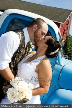Barn wedding, country wedding, camo, vintage truck facebook.com/yourphotosbytracy