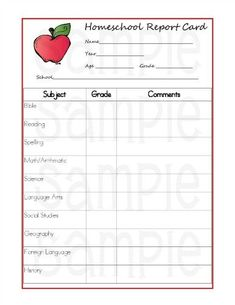Free Homeschool Report Cards  Homeschool School And School Resources
