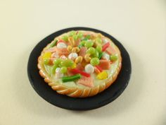 Pizza Miniature Food tinydecoration Clay by FMshopp on Etsy